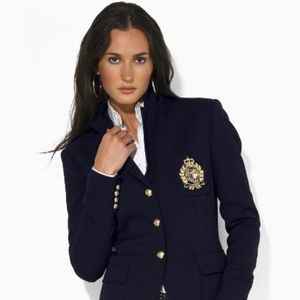 Dark Blue Gold Ralph Lauren Women's Patch Blazer S